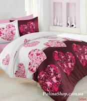 """Комплект постельного белья ALTINBASAK Сатин Deluxe """"Julien"""" розовый Евро"""