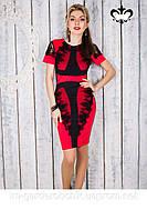 Платье женское с короткими ажурными рукавами
