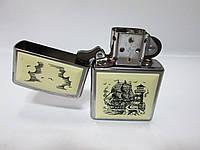 ЗажигалкаZIPPO(359)стальная, с накладкой и рисунком парусника
