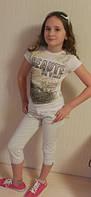 Прикольная летняя футболка Benini с рисунком для девочки - подростка, 152 см