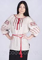 Вышиванка Богуслава льняная белая и серая орнамент