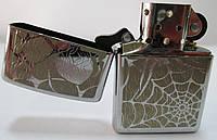 Зажигалка ZIPPO (28052) под сталь(хром) , глянец, рисунок -  напыление паука с паутиной