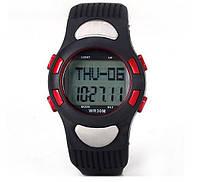 Профессиональный пульсометр часы WR30M с 3D шагомером ( будильник, таймер, календарь, подсветка )
