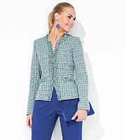 Жакет женский делового стиля Karen Zaps серо-зеленого цвета, демисезонный, ткань хлопок с шерстью