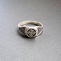 "Серебряное кольцо - перстень оберег ""Цветок Папоротника"""