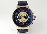 Мужские часы - Ulysse Nardin Maxi Marine- на ремешке с синим циферблатом и ремешком, кварцевые