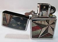 Зажигалка ZIPPO (28653) под сталь(серебро), матовая, рисунок - америк.флаг с звездой