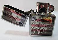 Зажигалка ZIPPO(28652)под сталь(серебро), матовая, рисунок - американский флаг с орлом