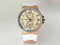 Мужские часы - Ulysse Nardin - Le Locle на белом каучуковом ремешке, цвет корпуса золото, светлый циферблат
