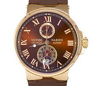 Мужские механические часы Ulysse Nardin - Le Locle 1845 с автозаводом, шоколадный цвет ремешка