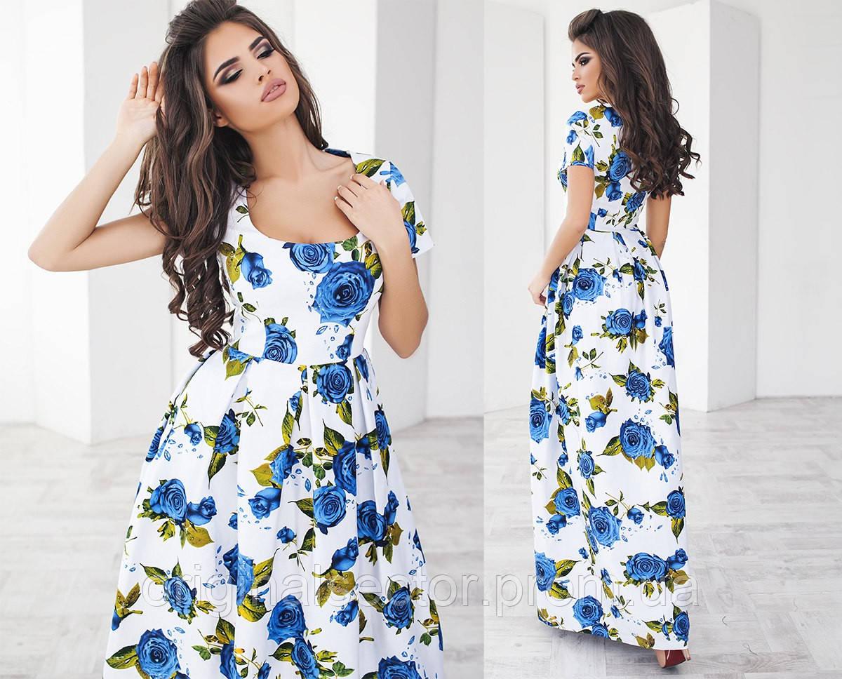 Платье белое с розами