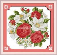 Набор для вышивания крестиком с печатью на ткани Розы и лилии канва 11СТ