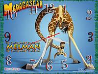 """Детские настенные часы """"Мадагаскар"""" (Мелман, жираф Мелман) 30*40 см, часы для детской"""