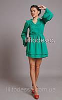 Платье с широким рукавом зеленый