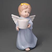 """Фарфоровая статуэтка-подсвечник """"Ангелок с ведёрком"""" 12 см Пасхальный сувенир"""