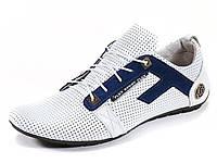 Спортивные туфли летние натуральные кожаные белые перфорация мужские шнурок Flex, фото 1