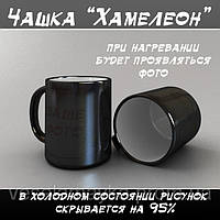 Магическая чашка. Кружка хамелеон. Черная