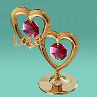 """Фигурка с цветными кристаллами """"С любовью сердцах"""" Swarovski необычные подарки"""