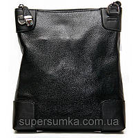 Вертикальная молодежная кожаная сумка, цвет черный, коричневый 29х25х7 см.