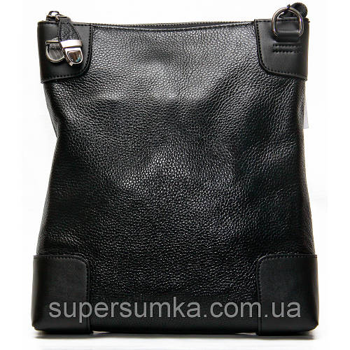 Вертикальная молодежная кожаная сумка, цвет черный, коричневый 27х22х5 см.