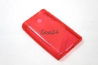 Чехол накладка бампер для LG E400 Optimus L3 красный