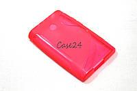Чехол накладка бампер для LG E400 Optimus L3 розовый