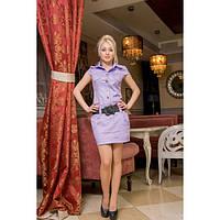 Платье с коротким рукавом и воротником стойка