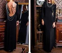 Трикотажное платье в пол с открытой спиной