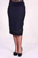 Женская прямая  юбка Зина синего цвета