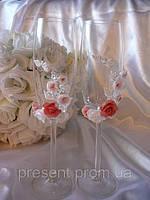 """Свадебные бокалы для жениха и невесты, ручная работа """"Цветочная нежность"""""""