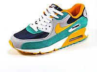 Кроссовки унисекс летние текстиль подросток зеленые/синие/оранжевые Nike Air Max, фото 1