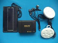 Портативный аккумулятор для туризма gdlite gd-8006 (солнечная батарея, 2 светодиодные лампы, аккумулятор)