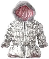 Красивая! Брендовая демисезонная серебристая курточка для девочки 6-12 мес!