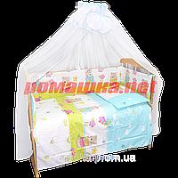 Набор в детскую кроватку из 7 предметов: постель, защита, балдахин, большое одело 140х100,подушка,100% хлопок