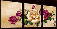 """Рисование по номерам на холсте """"Королева цветов"""" Триптих 3 в 1"""