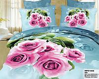 Постельное 3D нежно голубое с розами