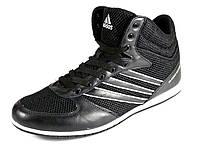 Кроссовки высокие мужские черные летние Adidas сетка текстиль спортивные шнурок, фото 1