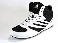 Кроссовки высокие мужские черные/белые летние Adidas сетка текстиль спортивные шнурок, фото 1