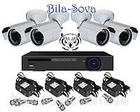 Комплект видеонаблюдения: регистратор TCL-404H и 4 цветные камеры TS-635HQ, 850 ТВЛ, ИК до 20м, f=3.6мм, Tesla