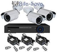 Комплект видеонаблюдения: регистратор TCL-404H и 3 цветные камеры TS-635HQ, 850 ТВЛ, ИК до 20м, f=3.6мм, Tesla