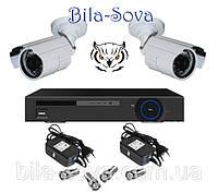 Комплект видеонаблюдения: регистратор TCL-404H и 2 цветные камеры TS-635HQ, 850 ТВЛ, ИК до 20м, f=3.6мм, Tesla