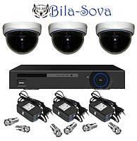 Комплект видеонаблюдения: регистратор TCL-404H и 3 цветные камеры TS-533HQ, 850ТВЛ, f=3.6мм, Tesla