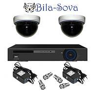 Комплект видеонаблюдения: регистратор TCL-404H и 2 цветные камеры TS-533HQ, 850 ТВЛ, f=3.6мм, Tesla