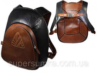 Рюкзак из натуральной кожи 14 л. Mykhail Ikhtyar 04118 чёрный с коричневым