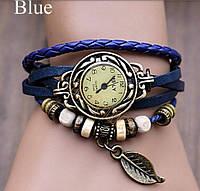 Женские часы с кожаным ремешком под старину с брелком листиком (синие), часы наручные женские цена