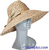 Шляпа соломенная с украшением в виде банта