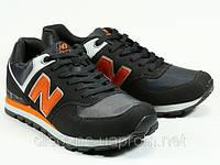 Спортивные серые кроссовки мужские шнурок с оранжевой отделкой New Balance, фото 1