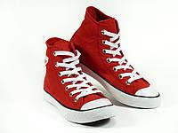 Кеды красные высокие текстиль унисекс шнурок, фото 1