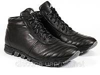 Ботинки черные мужские зимние на шнурке кожаные мех, фото 1