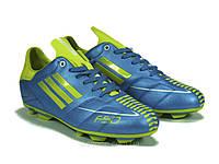 Бутсы мужские футбольные голубые с желтым  коженные, фото 1